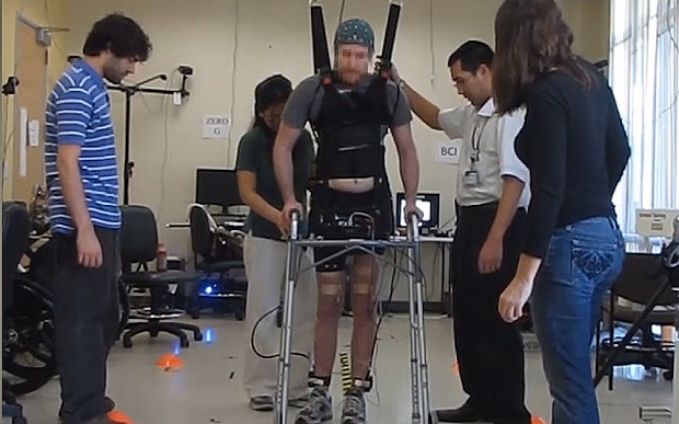 Disabled man walks again using mind control technology