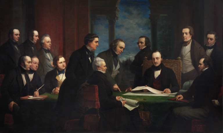 P.112-1920 The Official Picture of The Royal Commissioners of The Great Exhibition of 1851; by Henry Wyndham Phillips (1820 - 68); English; 19th century. Oil on canvas.
