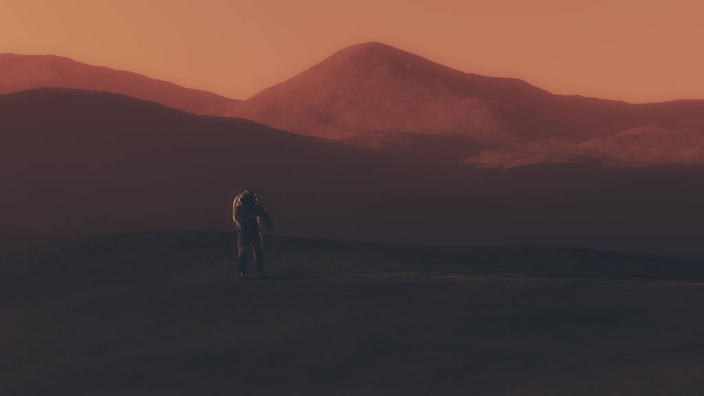 Astronaut walking on red planet.