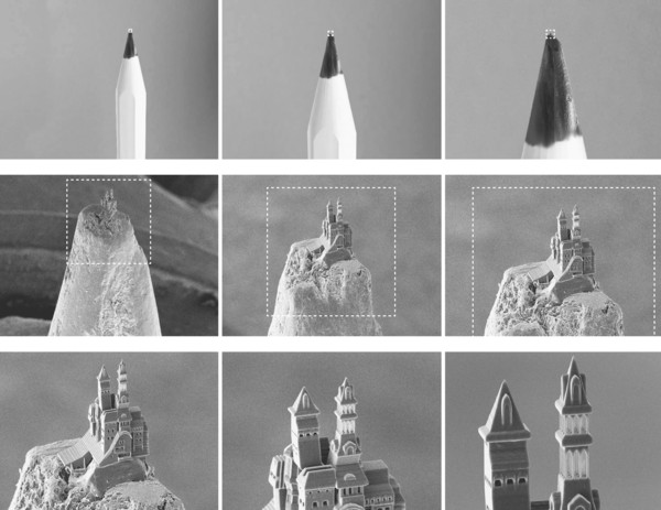 3D printing a castle on the nib of a pencil