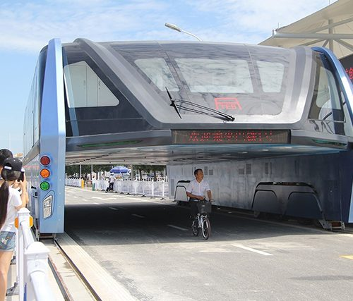 China's Traffic-Straddling Bus - One Year On