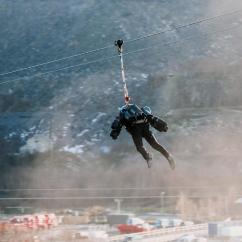 Iron Man Suit put through its paces on Welsh zipline