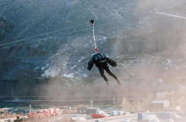 """Iron Man"" Suit put through its paces on Welsh zipline"