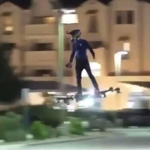 Real life Hoverboard spotted flying through city